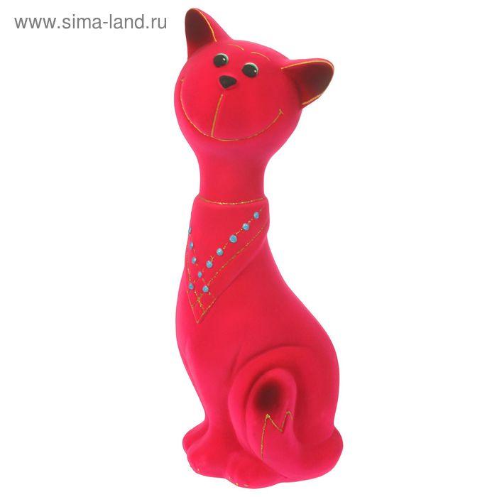 """Копилка """"Кот Филипп"""" большая, флок, розовая"""