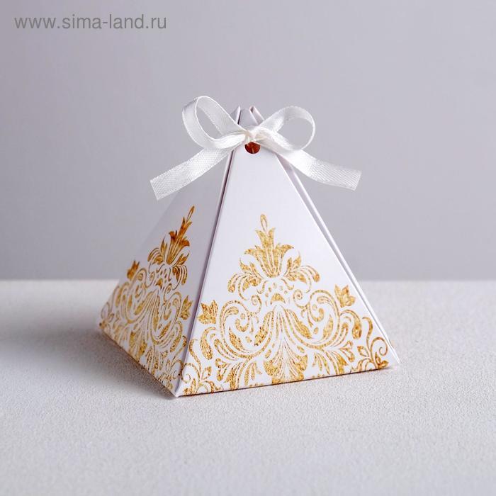 """Коробка пирамидка """"Роскошь золота"""",7,2 х7,2см"""