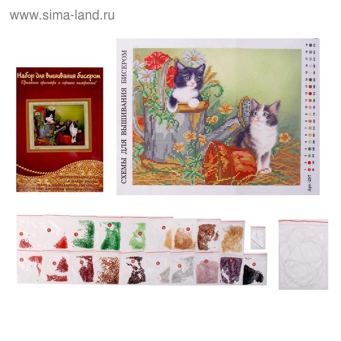 """Набор для вышивания бисером """"Забавные котята"""" размер основы 27*35 см"""
