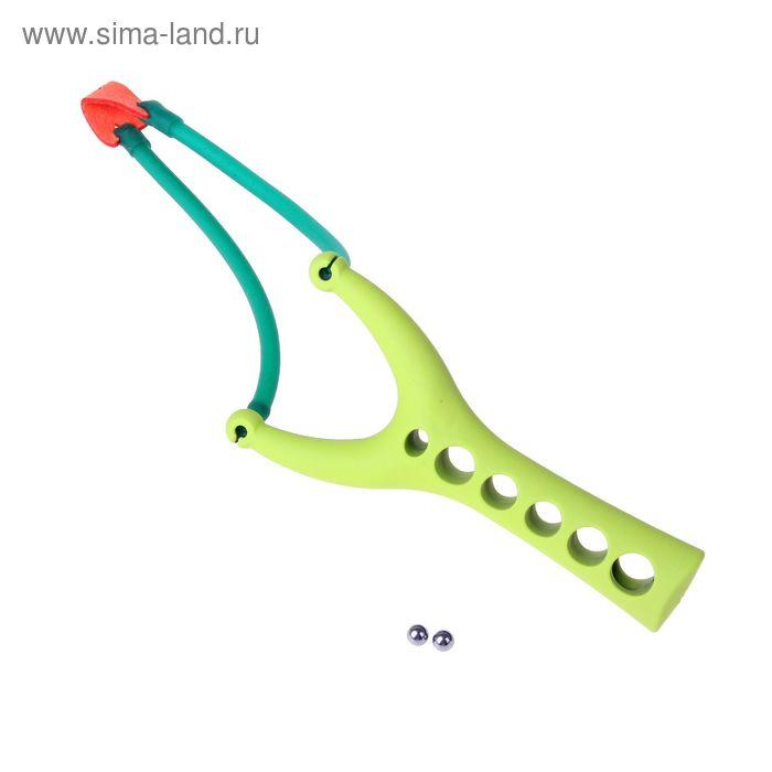 Рогатка, одинарный жгут, зеленый прорезиненный пластик, 15х7 см