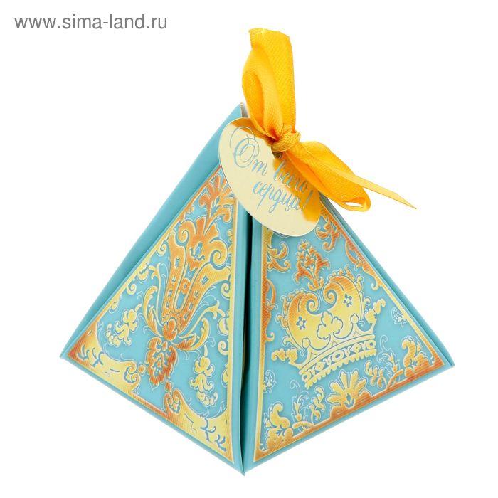 """Коробка пирамидка """"Роскошь голубого"""",7,2 х7,2см"""