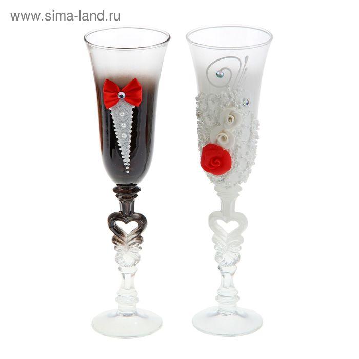 """Набор свадебных бокалов """"Торжество"""" в красном оформлении"""