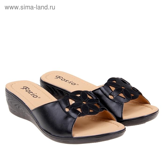 Туфли летние открытые женские Forio, цвет чёрный, размер 36, высота танкетки 5 см (арт. 35523-401-2)