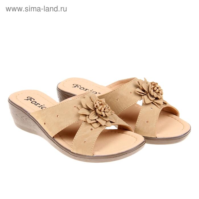 Туфли летние открытые женские Forio, цвет бежевый, размер 37, высота танкетки 5 см (арт. 35523-406-2)