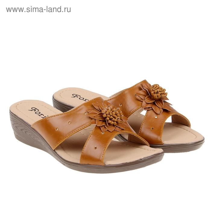 Туфли летние открытые женские Forio, цвет коричневый, размер 38, высота танкетки 5 см (арт. 35523-406-1)