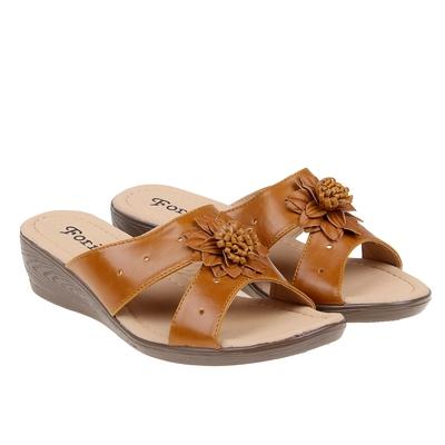 Туфли летние открытые женские Forio, цвет коричневый, размер 37, высота танкетки 5 см (арт. 35523-406-1)