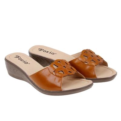Туфли летние открытые женские Forio, цвет коричневый, размер 38, высота танкетки 5 см (арт. 35523-401-3)
