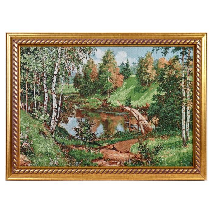 """Гобеленовая картина """"Река в центре леса"""""""