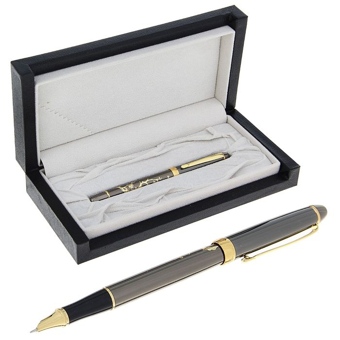 Pen gift pen in leatherette case Sakura bronze with gold