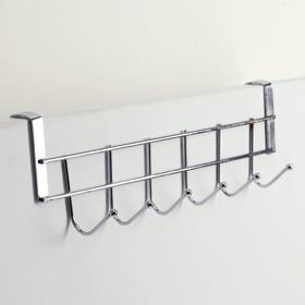Вешалка надверная на 6 крючков Доляна «Блеск», 28×10×6 см, цвет хром