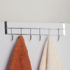 Вешалка надверная на 6 крючков «Блеск», 28×10×6 см, цвет хром - фото 4641460