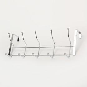 Вешалка надверная на 5 двойных крючков Доляна «Блеск», 38×5×16 см, цвет хром