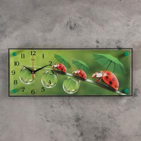 """Часы настенные, серия: Животный мир, """"Божьи коровки"""", 50х20  см, микс"""