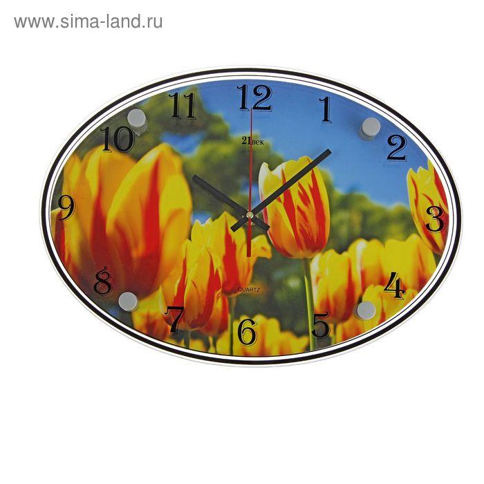 """Часы настенные овальные """"Желтые тюльпаны"""", 24х34 см"""