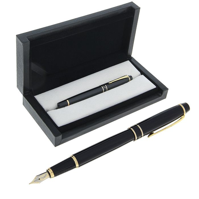"Pen gift pen in leatherette case, ""President"", black, with gold accents"