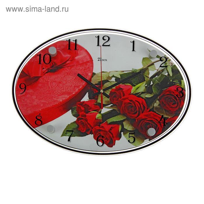 """Часы настенные овальные """"Красные розы"""", 24х34 см"""