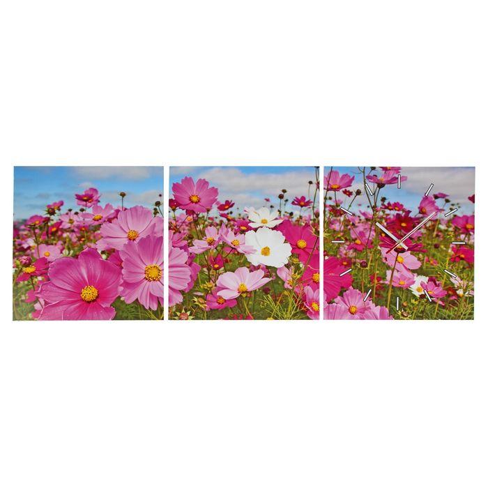 Часы настенные модульные «Полевые цветы», 33 × 33 см