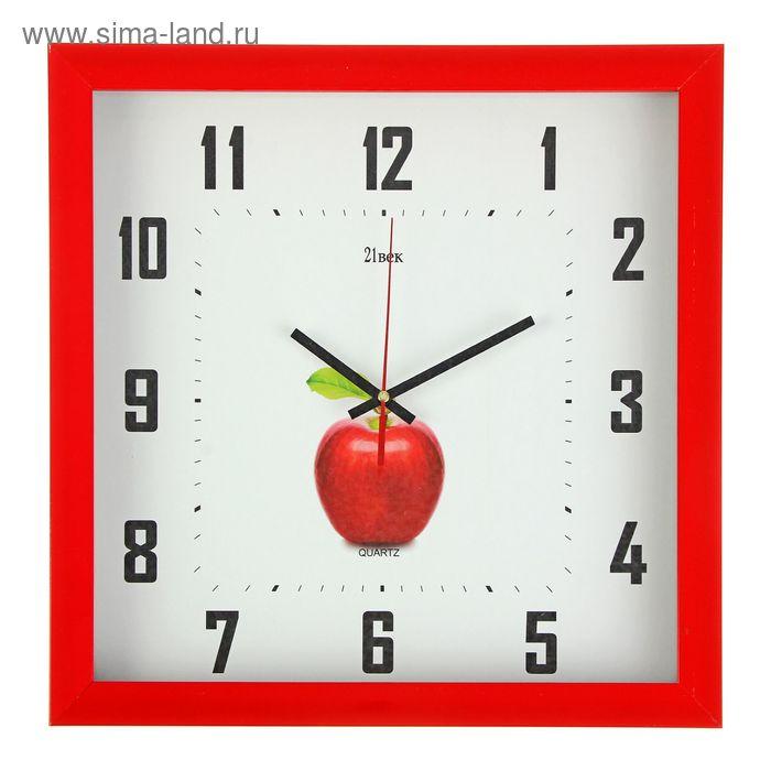 """Часы настенные квадратные в багете """"Красное яблоко"""", 37х37 см"""