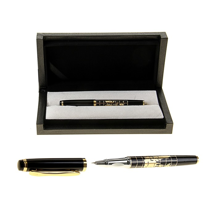 Pen gift pen in leatherette case Card black and gold