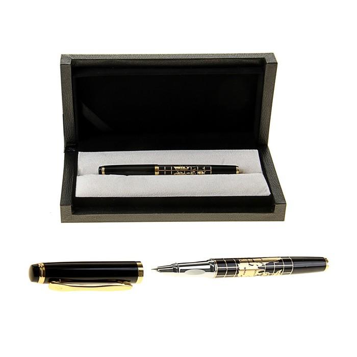 Ручка подарочная перьевая в кожзам футляре Карта черно-золотая