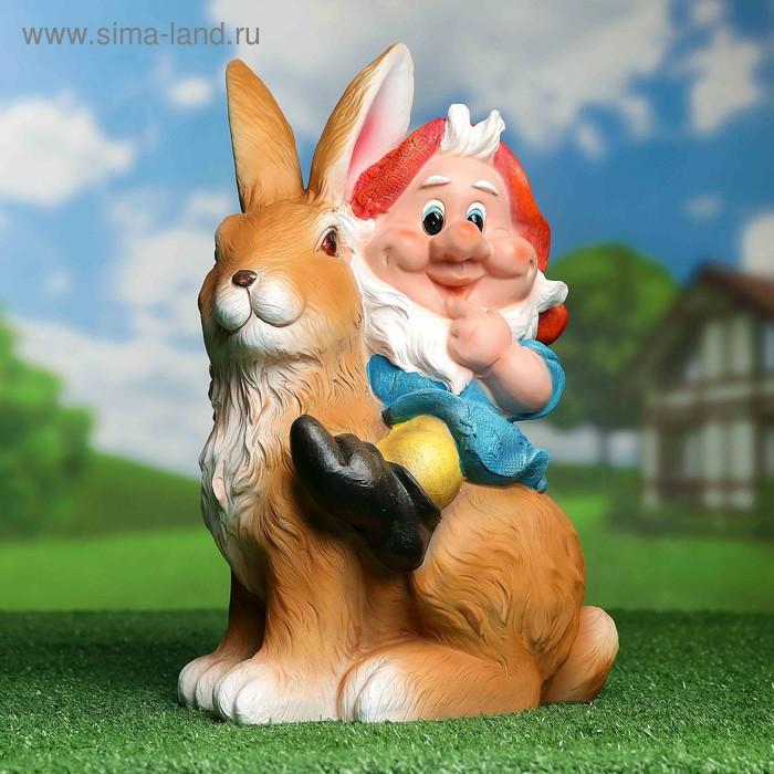 "Садовая фигура ""Гном на зайце"""