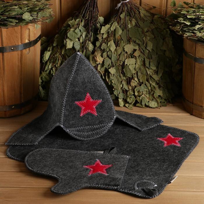 Набор для бани и сауны «Будёновец»: шапка, рукавица, коврик, фетр, серый