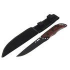 Нож нескладной, 27 см, лезвие чёрное, деревянная рукоять, в чехле