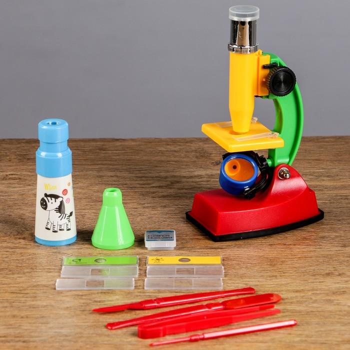 Микроскоп кратн 300, с подсветкой, инструменты, калейдоскоп, телескоп, стеклышки, 24*27см