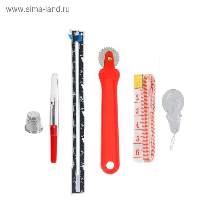 Набор инструментов для шитья, 6 предметов, цвет красный