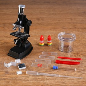 Микроскоп, кратность увеличения 900х, 600х, 300х, 100х, с подсветкой, набор для исследований