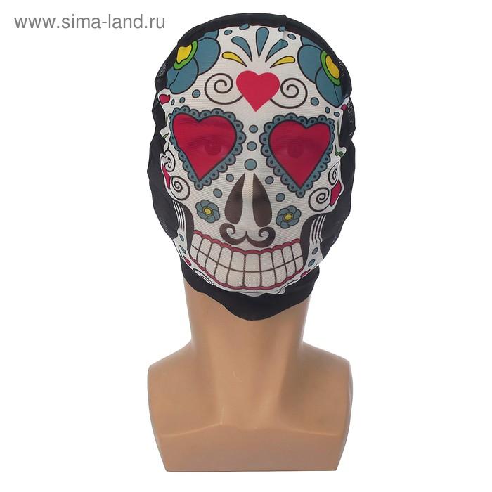"""Карнавальная маска текстиль """"Череп с сердечками"""""""