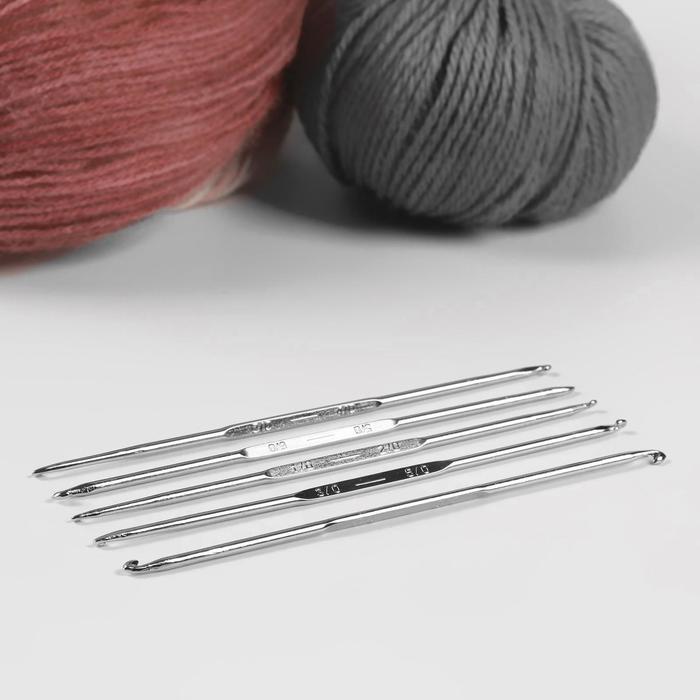 Крючки для вязания металлические, двусторонние, d = 1-2; 2-3; 5-6; 6-7; 7-8 мм, 13 см, 5 шт
