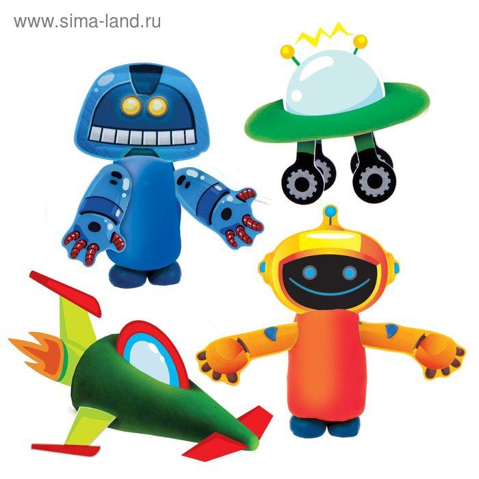 """Набор теста для лепки """"Роботы"""" с картонными элементами"""