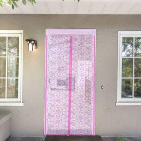 Сетка антимоскитная на магнитной ленте 80х210 см 'Цветочный узор', цвет розовый Ош