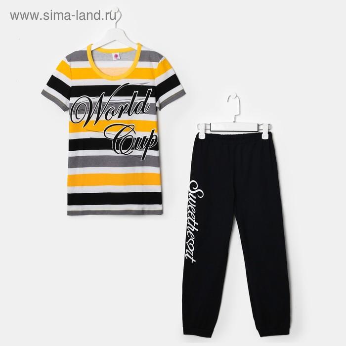 Комплект для девочки (футболка, бриджи), рост 158-164 см (40), рост цвет чёрный/жёлтый/белый (арт. Р607758)