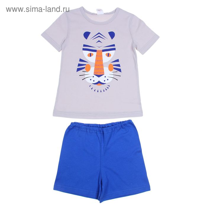 Пижама для мальчика, рост 98-104 см (28), цвет светло-серый/синий (арт. Р207704)