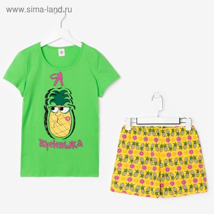 Пижама для девочки, рост 134-140 см (36), цвет зелёный/жёлтый (арт. Р208522)