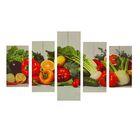 """Модульная картина на подрамнике """"Овощное ассорти"""", 2 — 46×25, 2 — 55×25, 1 — 75×25, 125×75 см"""