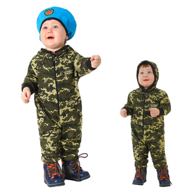 """Children's carnival costume as a """"Real man"""", camouflage, overalls, beret, knitwear, height 80 cm"""