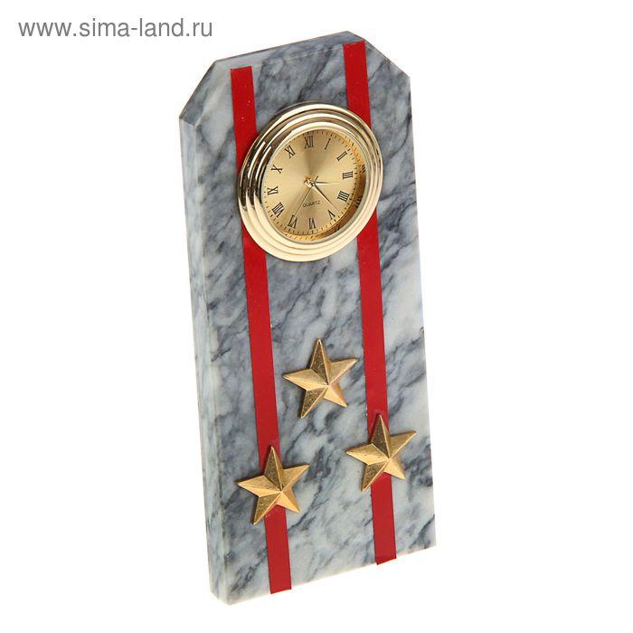 """Часы """"Погон-полковник"""" из мрамора, с красными просветами из оракала 60 х 45 х 150 мм"""