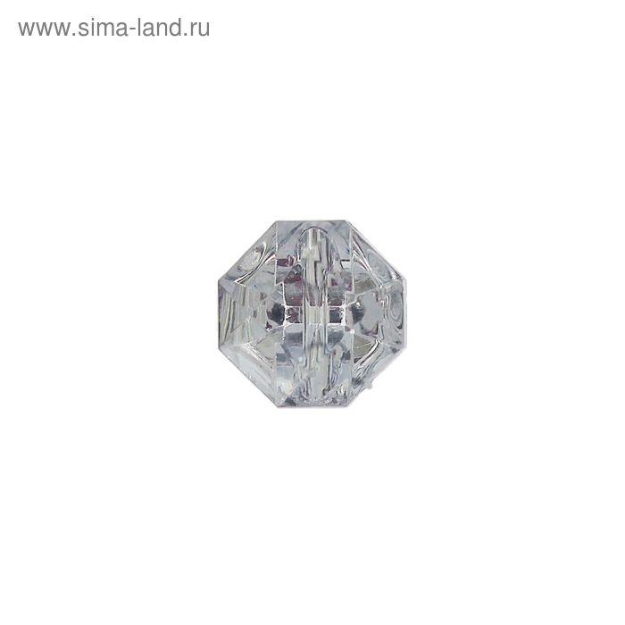 Пуговица-страза, 2 прокола, 12,5мм, цвет серебристый