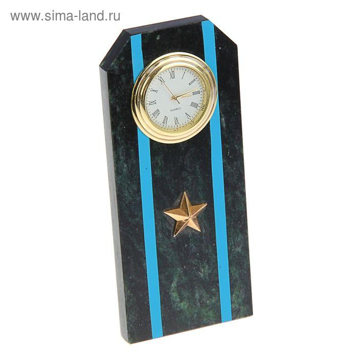 """Часы """"Погон-майор""""  из змеевика с синими просветами  из оракала 60 х 45 х150 мм"""