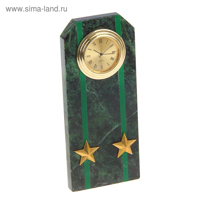 """Часы """"Погон-подполковник""""  из змеевика с зелеными просветами из оракала 60 х 45 х 150 мм"""
