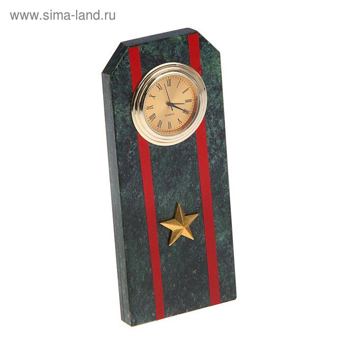 """Часы """"Погон-майор""""  из змеевика с красными просветами из оракала 60 х 45 х 150 мм"""