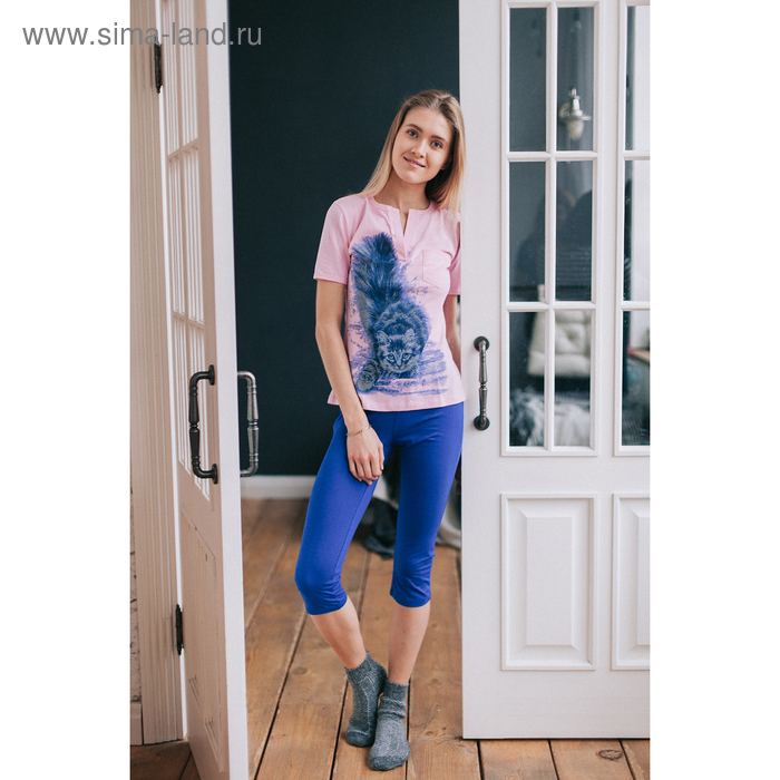 Комплект женский (футболка, бриджи) М-170/1-09 роза, василек, р-р 56