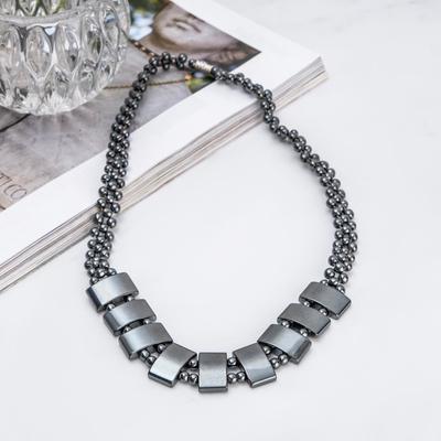 "Necklace ""Hematite"" rectangular plate in 2 beads"