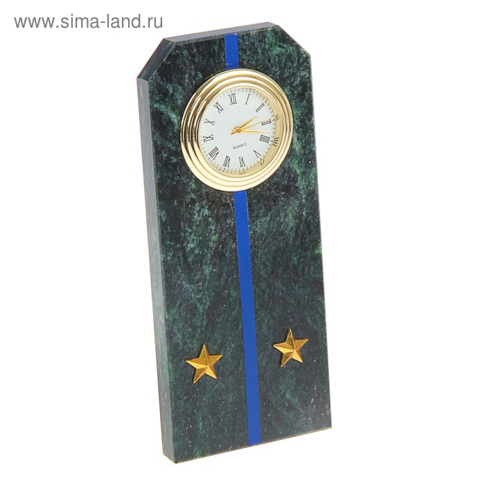 """Часы """"Погон-лейтенант""""  из змеевика с синими просветами  из оракала 60 х 45 х 150 мм"""