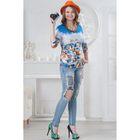 Блуза женская 4565 цвет синий/оранж/белый, р-р 44
