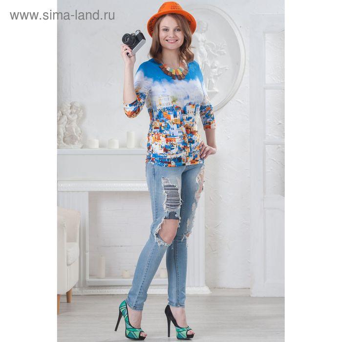 Блуза женская, размер 44, рост 164 см, цвет синий/оранж/белый 4565