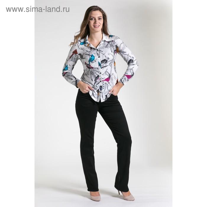 Блуза женская, размер 48, рост 164 см, цвет молочный/серый 4119